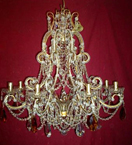 19th Century Elegant Coloured Crystal Drop 8 Light Chandelier.