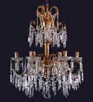 19th Century Crystal Drop Neoclassical 6 Light Chandelier.