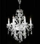 Elegant Crystal Drop Murano Glass 6 Light Chandelier.
