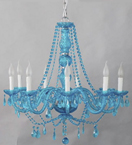 Murano Style Chandelier With Hanging Crystal and Beads