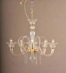6 Arm Traditional Swirled Murano Style Glass Chandelier
