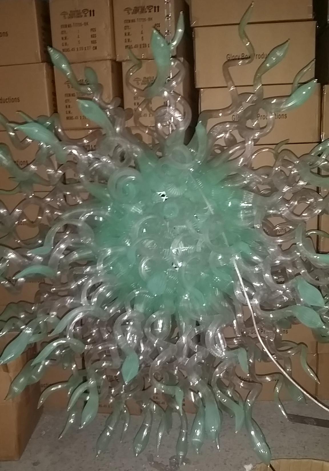 Murano Style Ocean Burst Chandelier - Duck Egg Blue