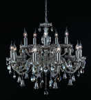 15 Light Ash Grey Crystal Bell Drop Chandelier