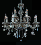 12 Light Ash Grey Crystal Bell Drop Chandelier