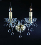 2 Light Crystal Ball Drop Wall Light