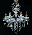 6 Light Chandelier With Hanging Crystal Beads