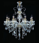 8 Light Chandelier With Hanging Crystal Beads