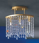 Crystal Curtain Flush Fitting Chandelier
