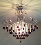 Coloured Crystal Drop 6 Light Chandelier