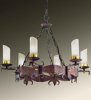 Gladiatore Design 6 Light Chandelier Made From Hand Hammered Metal