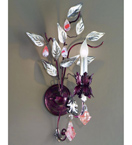 Foresta Design Colourful Wall Light with Leaf Detail and Crystal Drops
