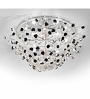 Paris Design Chrome Framed Flush Chandelier with Black Rose Details