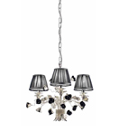 Paris Design Chrome Framed Chandelier with Black Shades