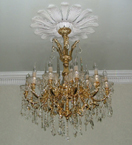 Gold Frame & Clear Crystal Drop 19th Century Chandelier