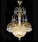 Elegant tiered 8 Light Crystal Chandelier