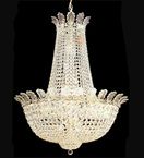 Regency style dome shaped 21 light crystal chandelier